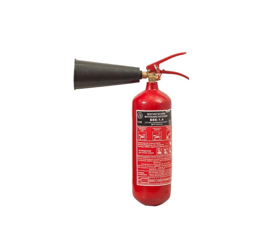 Огнетушитель углекислотный ВВК-1,4 фото - купить